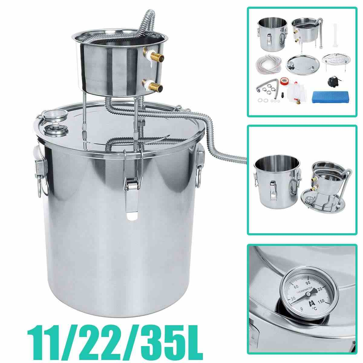 35L 304 Stainless Boiler Mini Alcohol Distiller Moonshine Home Bar Wine Making Machine Water Whiskey Beer Filter Making Tool Kit