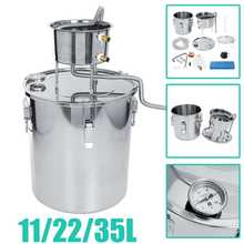 35L 304 Stainless Boiler Mini Alcohol Distiller Moonshine Home Bar Wine Making Machine Water Whiskey Beer Filter Making Tool Kit(China)