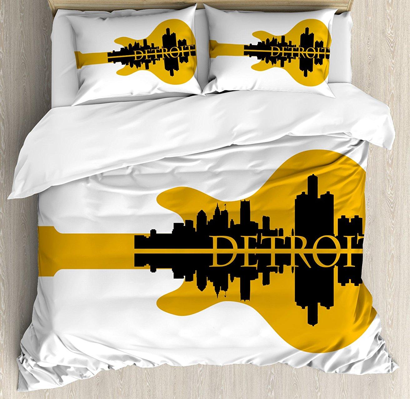 Detroit décor housse de couette ensemble gratte-ciel bâtiments Silhouette réflexion guitare électrique Instrument musique décor 4 pièces ensemble de literie