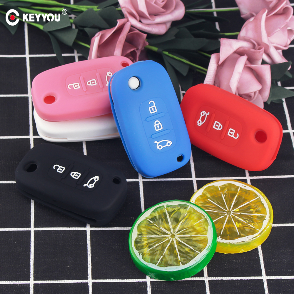 KEYYOU 3 Buttons Silicone Rubber Car Key Case Cover For Mercedes Benz Smart City Fortwo Forfour Roadster For Renault Twingo Clio