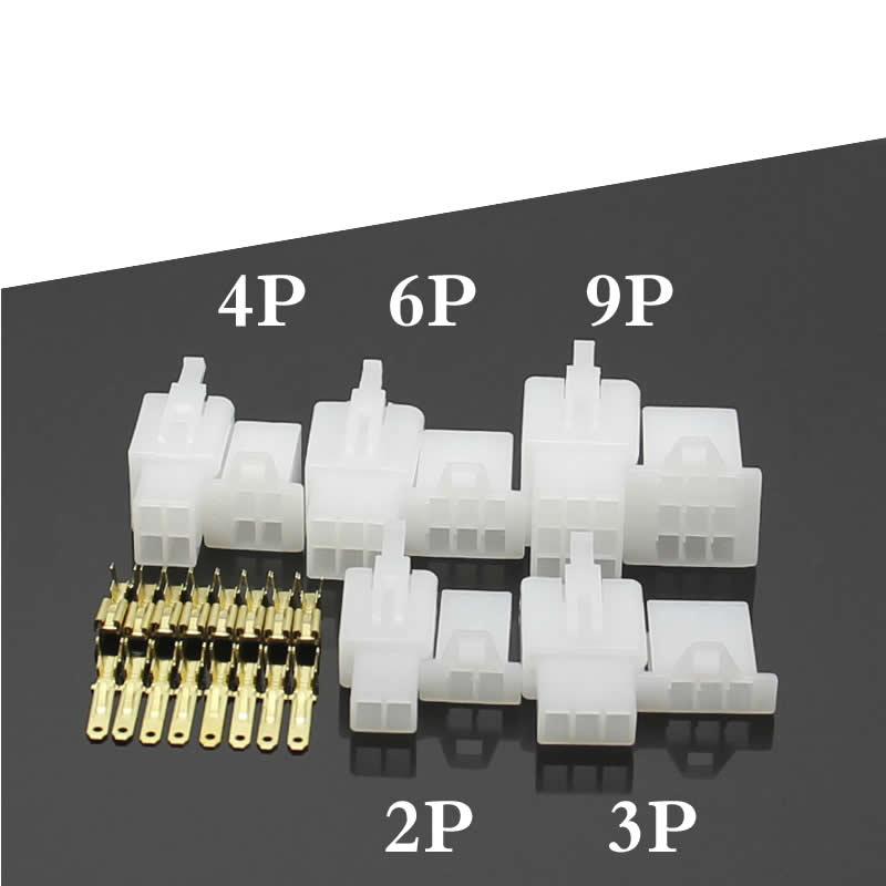 5set/lot 2.8 mm 2P/3P/4P/6P/9P 6A Motorcycle Connector Female and male Electric Car connector Butt Plug Hole core Insert
