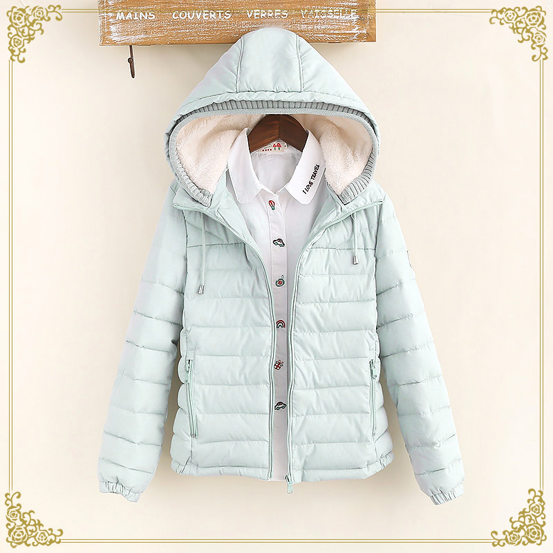 Winter women s patchwork short design with a hood wadded jacket female small cotton padded jacket