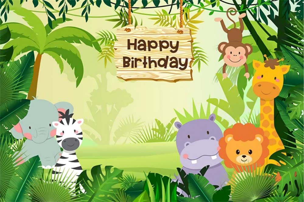 Photographic Background Baby Cartoon Tropical Birthday Party Animals Banner Portrait Photography Backdrop Photocall Photo Studio
