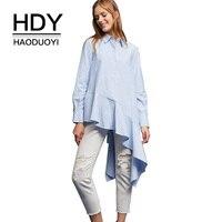 HDY Haoduoyi Women Long Blouse Irregular Ruffles Shirts Full Sleeve Button Striped Tops Asymmetrical 2017 Autumn