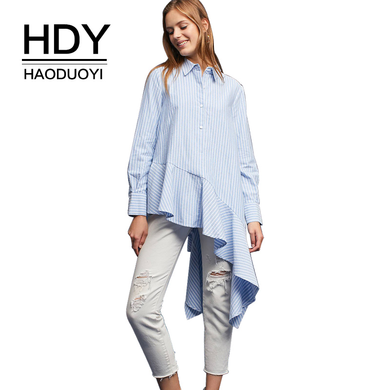 HDY Haoduoyi Women Striped High Low Blouse Shirts Office Ladies Long Sleeve Asymmetrical Tunic Tops Autumn
