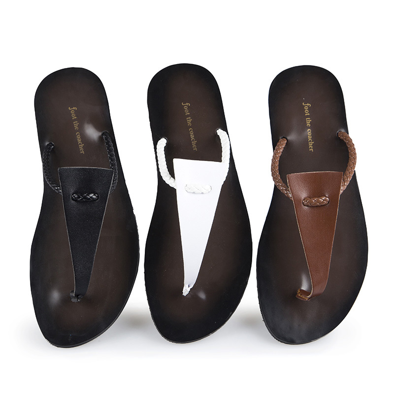 27707e6a910e8 New Brand Designer Men Flip Flops Leather Sandals Good Quality Footwear  Beach Shoes Slipper For Men Daily Life Wear 39-43 D56