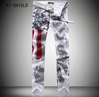 New Fashion Mens American USA Flag Printed Jeans Straight Slim Fit Trousers Plus Size Casual Biker