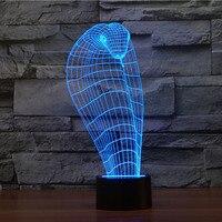 3D illusion Lampe LED Nachtlicht Cartoon 3D snake7 Farben Acryl Verfärbung Bunte Atmosphäre Lampe Neuheit Beleuchtung-in LED-Nachtlichter aus Licht & Beleuchtung bei