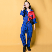 Jazz Costume Hip Hop Clothes For Girls Boys Blue Tooling Jumpsuit Kids Street Dancing Clothes Stage Performance Wear DNV10635