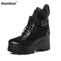Women Platform Real Genuine Leather Short Boots Woman Square Heel Botas Ladies New Lace Up Heeled