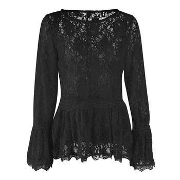 Lace Blouses Women See-Through Pullover Flare Sleeve Sweet Blouse 3 Colors