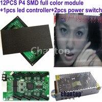 Бесплатная Доставка 1 2 шт. P4 Крытый SMD RGB полноцветный светодиодный электронный дисплей знак модуля + 2 шт. dc5v40a PSU + 1 шт. Видео LED контроллер