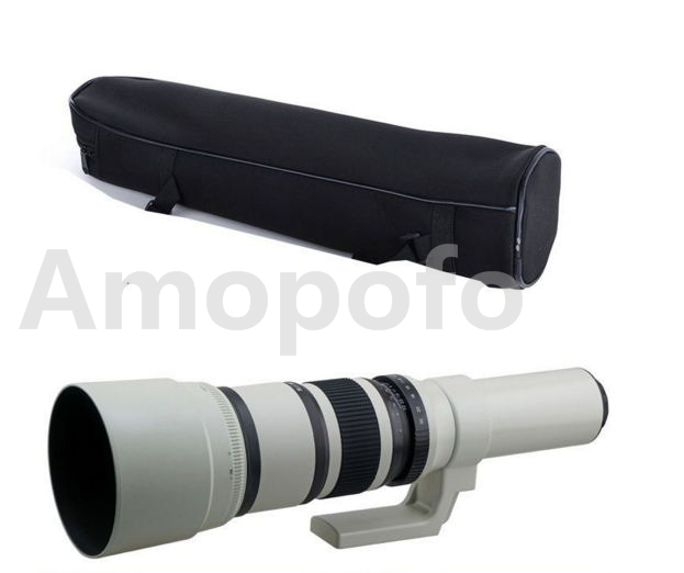 Amopofo,500mm F6.3-32 Telephoto Lens For Sony NEX 3 4 5 6 7 A7 A7R A7RII A7S A5000 Camera micro camera compact telephoto camera bag black olive