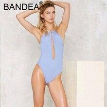 2018  New Design High-cut leg  Beachwear Backless Bathing  Suit  Solid  Swimwear