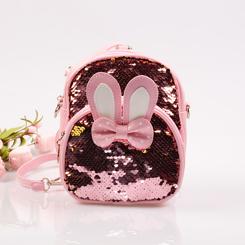 Women Mini Sequins Backpack Cute Rabbit Ears Shoulder Bag For Girls School Bags Bling Shiny Travel Backpacks Children Bagpack women sequins backpack female fashion bling bling children backpacks mini bags ladies casual shoulder bags for teenager girls