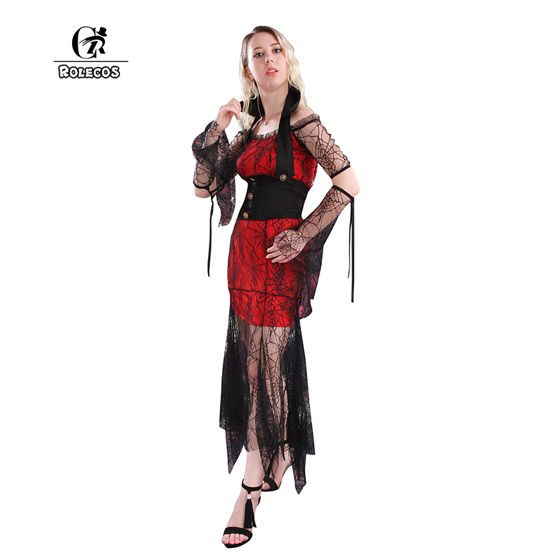 rolecos high quality women cosplay costumes vampire witch cosplay stage dresses color black and red women halloween costume - High Quality Womens Halloween Costumes