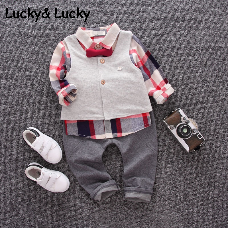 Kids clothing set plaid shirt with grey vest gentleman baby clothes with bow and casual pants 3pcs/set for newborn clothes baby boy clothes suits vest plaid shirt pants 3pcs set party formal gentleman wedding long sleeve kid clothing set free shipping