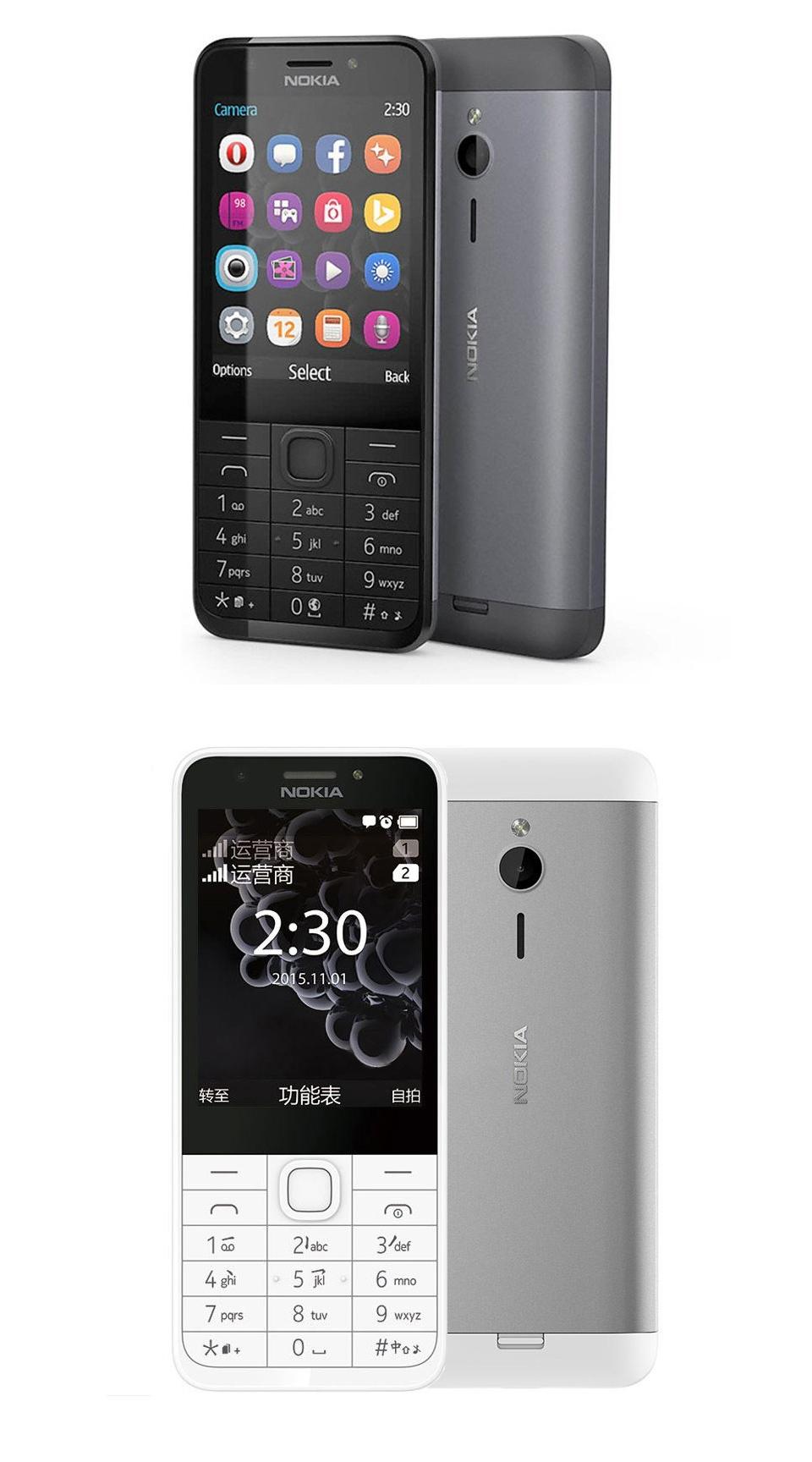 new phone Original Nokia 230 Unlocked GSM 2.8 inch Dual SIM & Single card Cards 2MP dual sim card grey 1