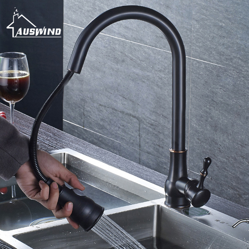 Copper Pull Out Kitchen Faucet Hot and Cold Wash Basin Mixer Sink Faucet Telescopic Bathroom Faucet Oil Rubbed Black 360 Degree