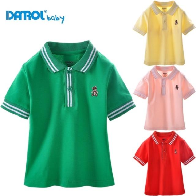Danrol Малыш, Рубашки-Поло С Коротким Рукавом мальчиков футболки хлопок моды детская одежда отложным воротником