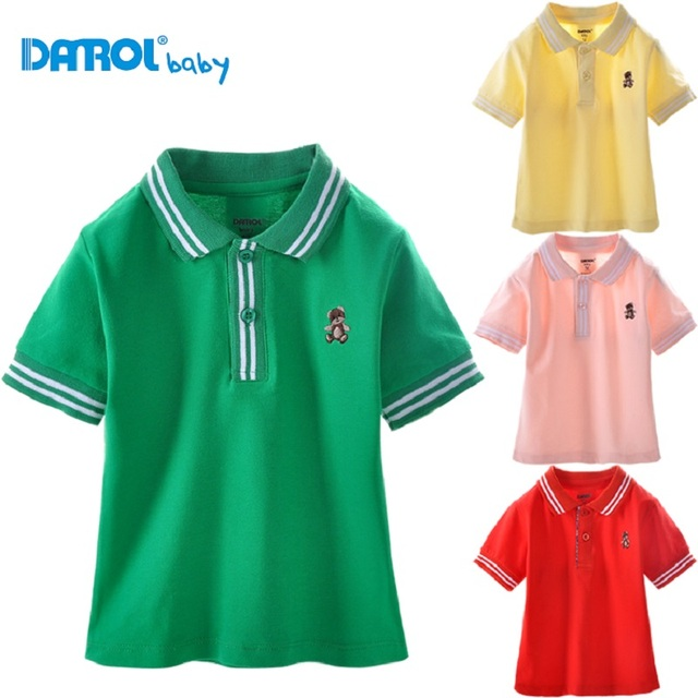 Danrol Toddler Polo Shirts Short Sleeve boys t-shirts cotton fashion baby clothes turn-down collar
