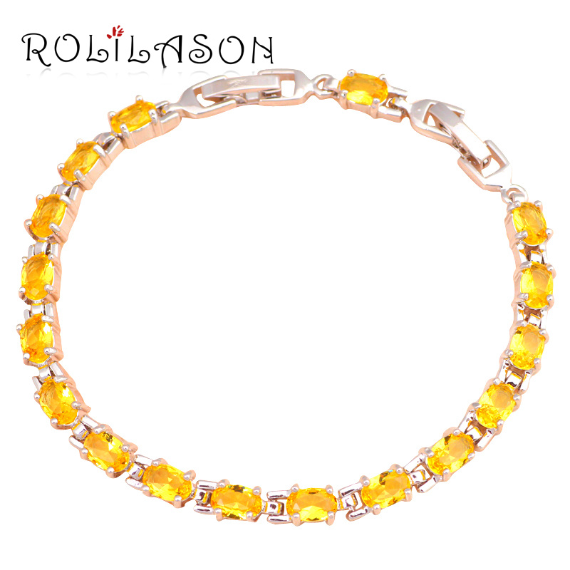 Super supplier Yellow Crystal Shining design Silver filled charm bracelets Health Nickel&Lead free Fashion jewelry TBS753