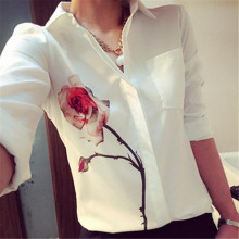 KLV Women Long Sleeve Rose Flower Blouse Turn Down Collar Chiffon Shirts
