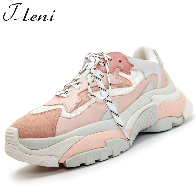 Tleni Genuine Leather Mesh Women's Platform Chunky Sneakers 2018 Fashion Women Flat Thick Sole Shoes Woman Dad Footwear ZK-109