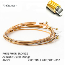 Amola Guitar String  A6027 011-052 Wood Acoustic Guitar Strings with Coating  Custom Light Phosphor Bronze Musical Instrument