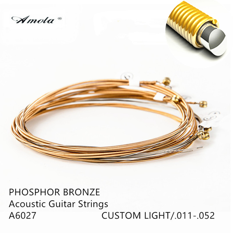 Amola Guitar String  A6027 011-052 Wood Acoustic Guitar Strings with Coating  Custom Light Phosphor Bronze Musical Instrument 38 inch folk guitar to send full color gifts string linden wood guitar six strings with free shipping