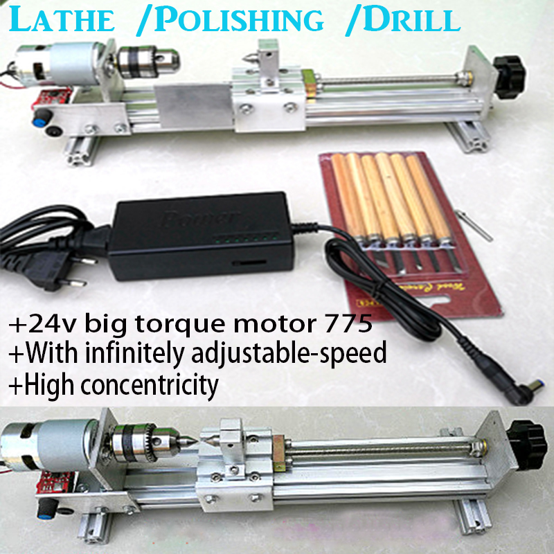ФОТО Mini Lathe Machine Polisher Table Saw for polishing Cutting DIY Wood Lathe,metal mini lathe/didactical DIY lathe ship by DHL