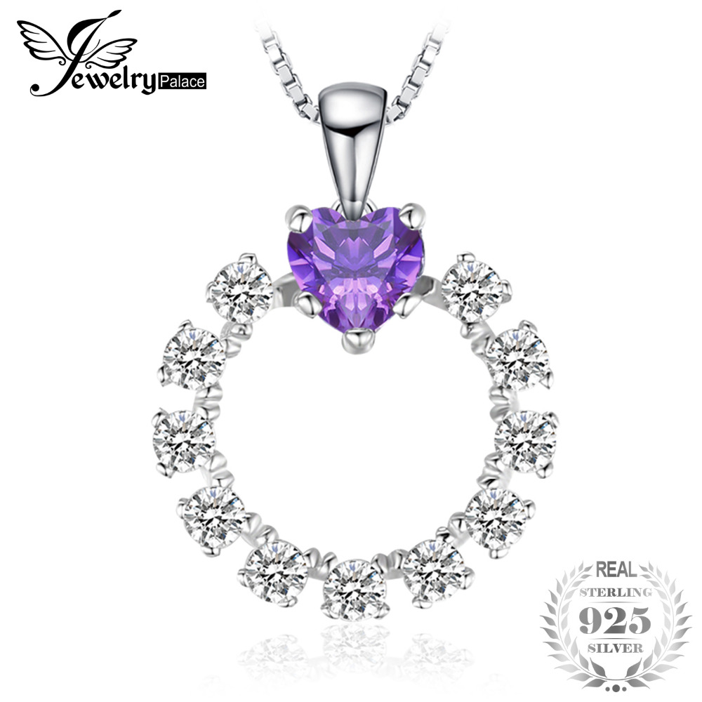 JewelryPalace Heart Love 3.1ct Created Alexandrite Sapphire Pendant Necklace 925 Sterling Silver 18 Inches HqXnHyd