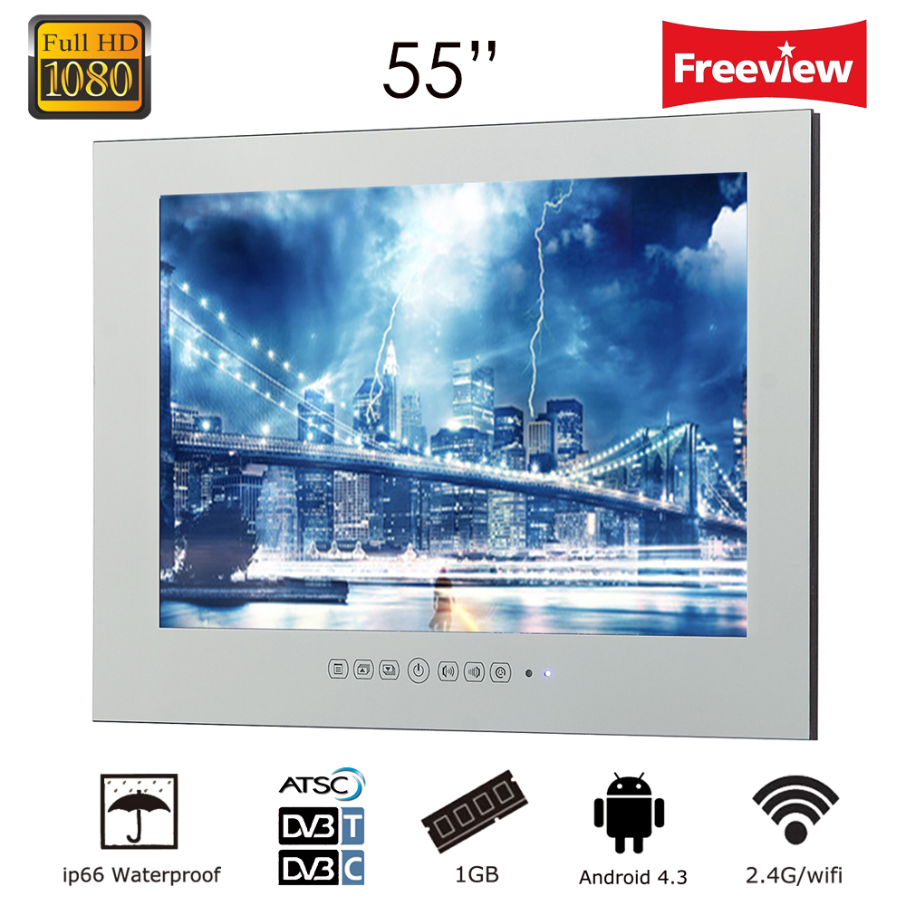 "Souria 55"" 1920x1080 Gig Screen Monitor Smart WiFi Internet LED Waterproof LED TV Entertainment (ATSC/DVB-T/DVB-T2/C)"