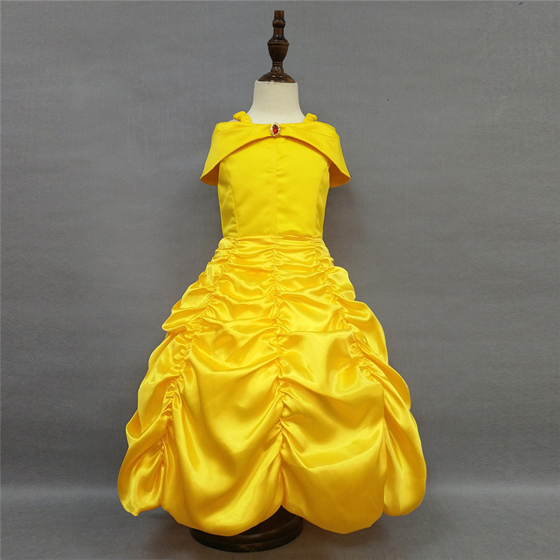 Girls Princess Belle Dress Beauty and The Beast Yellow Party Shoulderless Dress Children Girl Carnival Xmas Birthday Ball Gown q posket beauty and the beast belle pvc figure model toy princess doll gift for girls 13cm
