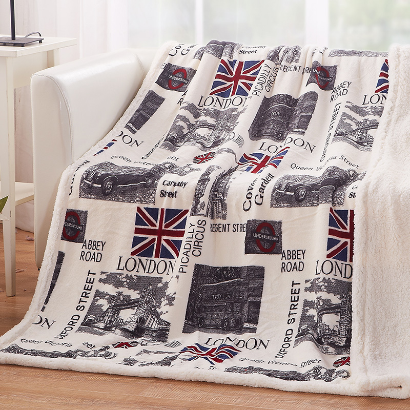 PatridgeSky 40 New US Euro Style Flannel Fleece Two Sides Wolf Impressive Stars And Stripes Throw Blanket