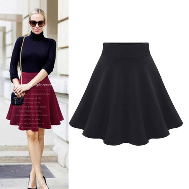 0d30457c58 Online Shop 2018 Autumn High Waist Elegant Skirt Wine Red Black street  Flared Skirt school Girls Short Women pensil skirt 3XL Plus Size    Aliexpress Mobile