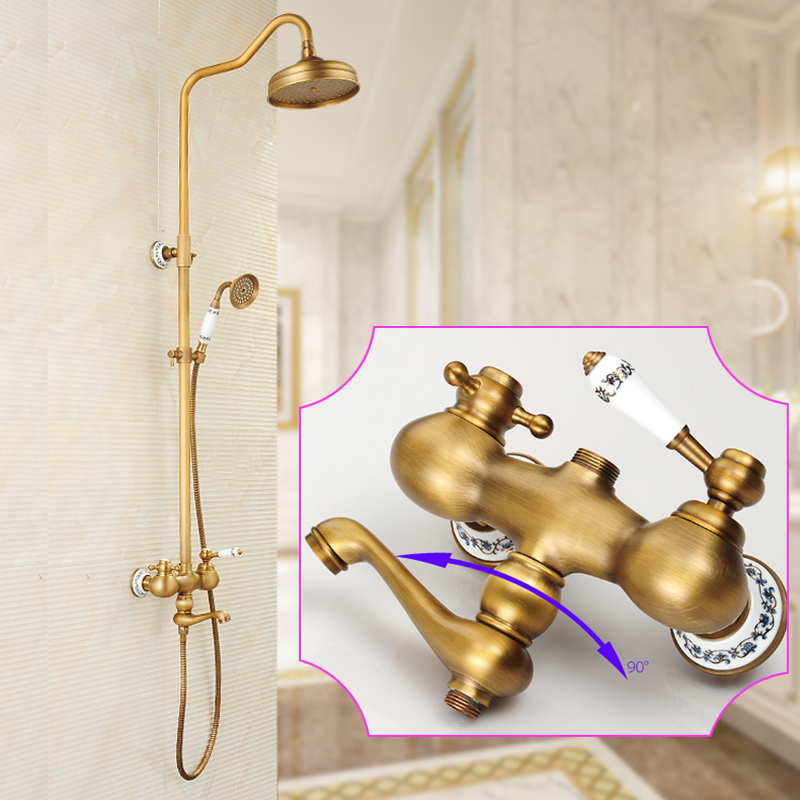 Antique Brass And Black Shower Faucet Set Wall Mounted Retro Style Rainfall  with Handheld Shower Bath and Shower Mixers 1537fb4d7b3