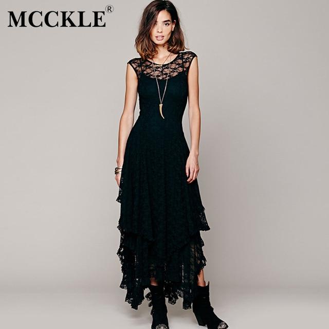 Asymmetrical Lace Maxi Dress Summer Hippie Style Dress