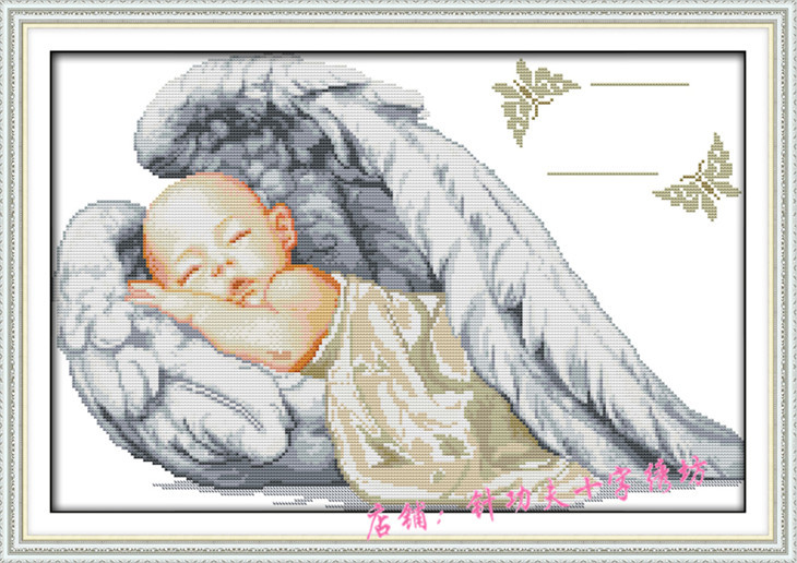 Needlework Dmc Cross Sch Set For Embroidery Kit Baby Angel Birth Certificate Pattern Counted Scenic Sewing In Package From Home