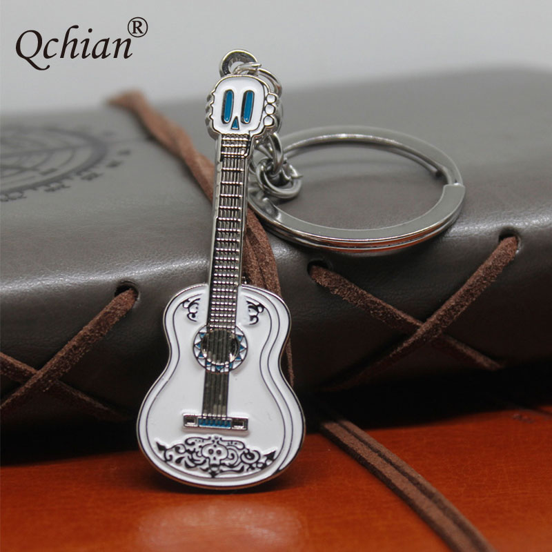 Movie Cocoes Keychain for men Miguel Guitar Model Key Chains Ring Holder for Kids