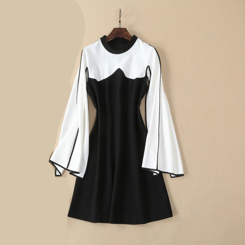 Élégante Pour Femmes cou O Manches Noir Manteau Patchwork Bureau Robes 2019 Sexy Longues Split Mini Designer De Robe Femelle Nouveau Partie Vêtements PHZwqgxv