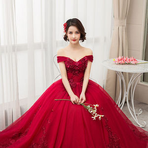 Image 5 - 2020 새로운 부인이 어깨에서 벗어나 럭셔리 레이스 파티 Vestidos 15 Anos 빈티지 Quinceanera 드레스 4 색 Quinceanera 가운 F