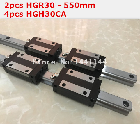 HGR30 linear guide: 2pcs - 550mm + 4pcs HGH30CA block carriage CNC parts