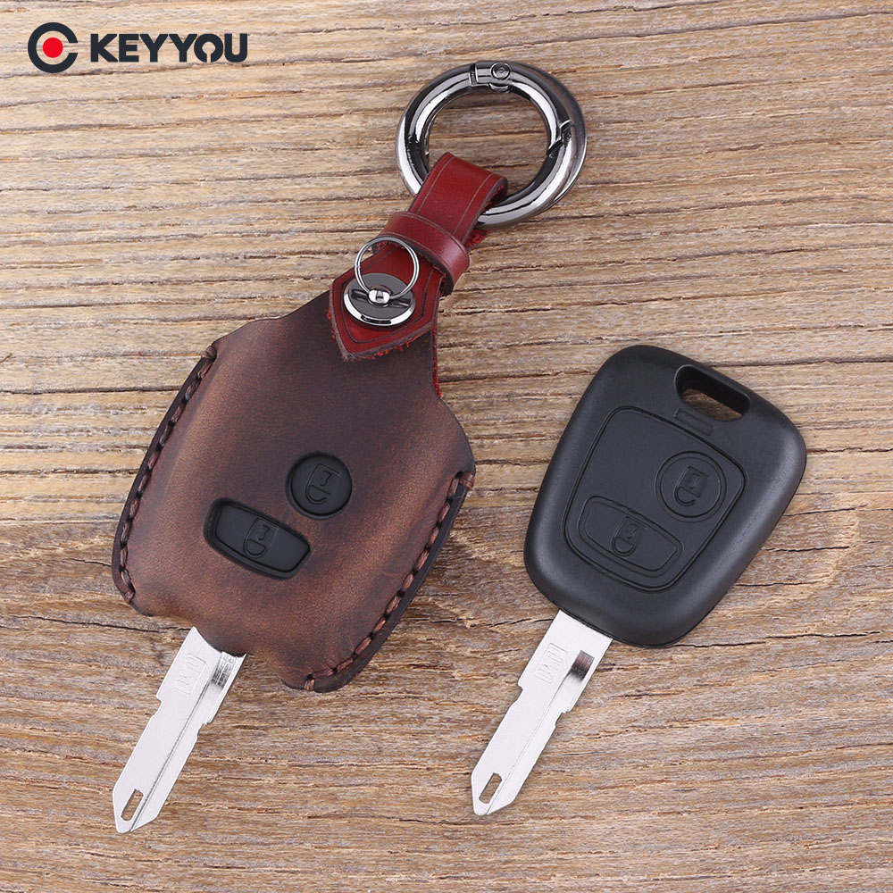 KEYYOU Leather 2 Buttons car Key Cover Case For Citroen c4 c5 Berlingo Picasso Xsara Picasso for Peugeot 206 207 307 107 406 408 okeytech silicone case for citroen c4 c5 c3 c2 c4l xsara picasso for peugeot 208 207 308 rcz 408 407 307 206 car flip key cover