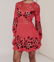 Women Love Summer Hot Red Isabella Long Sleeve Dress Patchwork Hollow Out Sexy Floral Lace Dress Embroidered Crepe Mini Dress