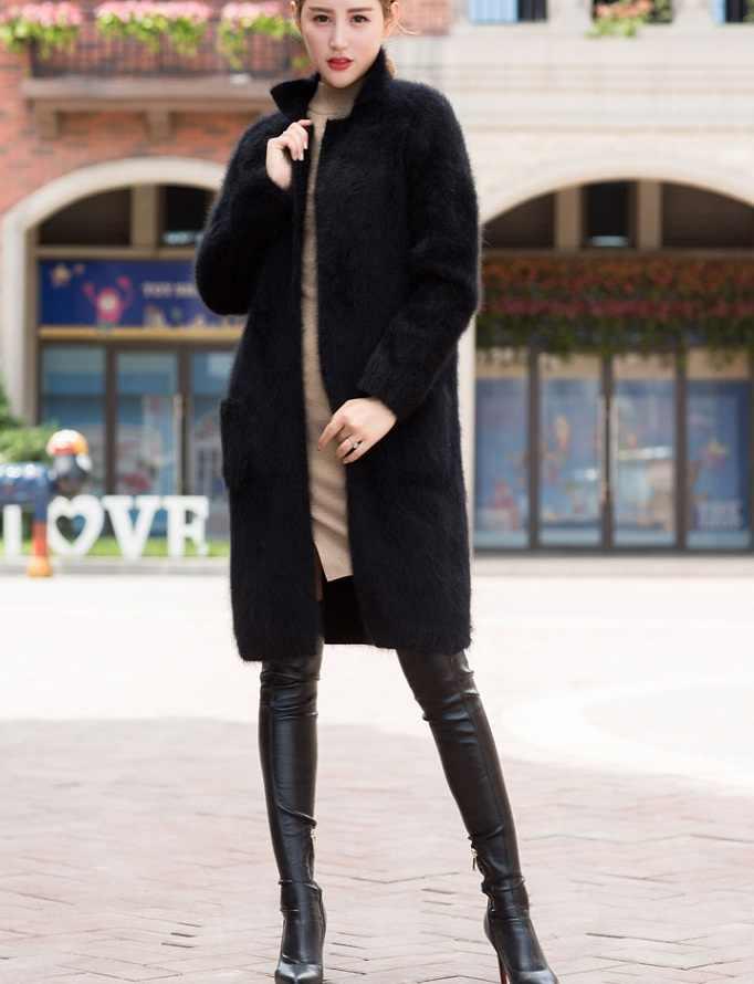 Натуральный норковый кашемировый свитер женский толстый кардиган вязаная куртка модная зимняя длинная шуба бесплатная доставка