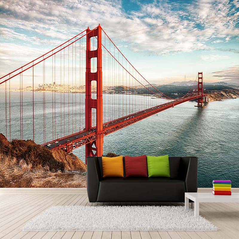 Custom 3D Wallpaper Walls Big Bridge Sea Landscape Photography Photo Mural Wallpaper For Living Room Study Bedroom Decoration custom baby wallpaper snow white and the seven dwarfs bedroom for the children s room mural backdrop stereoscopic 3d