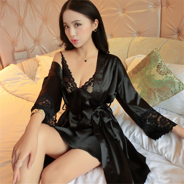 Autumn woman imitation silk pajamas sets nightgown sexy robe long - sleeved two-pieces homewear service thin pajamas sets S2878