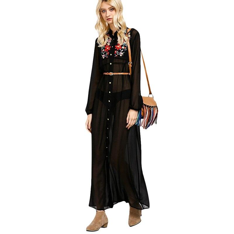 CharMma Women 2017 Summer Long Sleeve Chiffon Maxi Shirt Dress ...