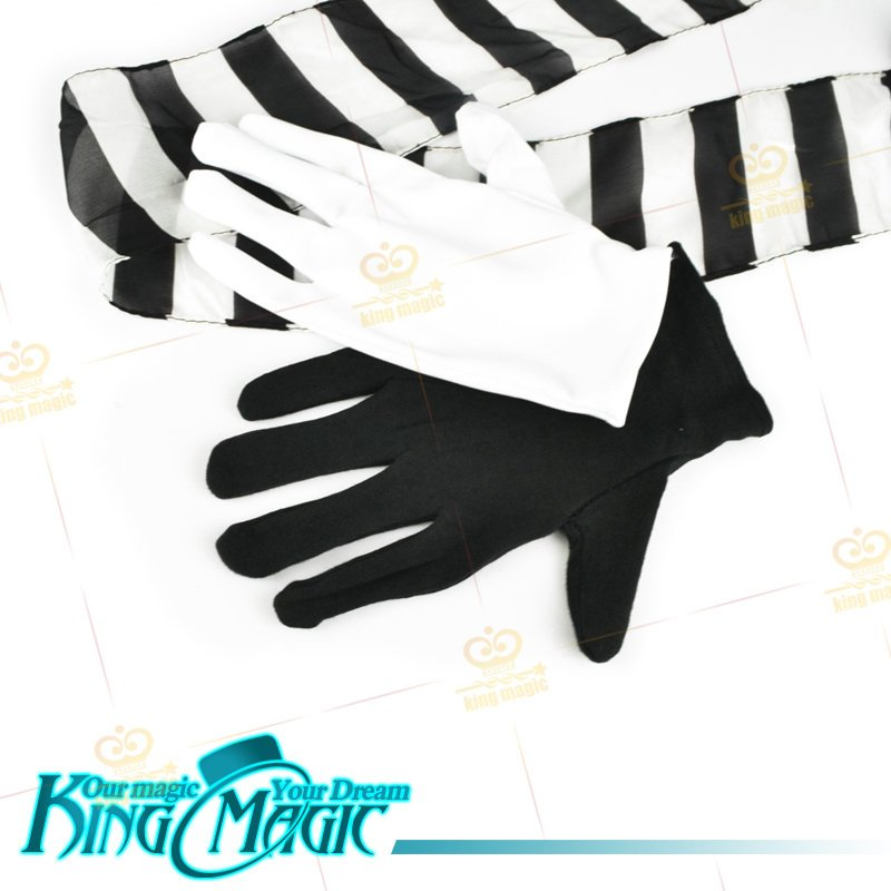 Black And White Gloves To Streamer Free Shipping King Magic Tricks Props Toys Email Video To You